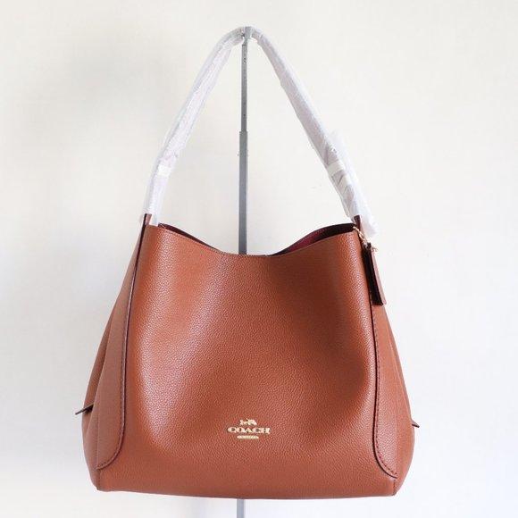 Coach Hadley Leather Hobo Shoulder Bag Saddle